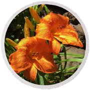 Morning Daylilies Round Beach Towel