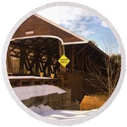 Morning Finds The Rowell Bridge Round Beach Towel