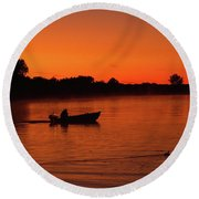 Morning Fishing On The Lake Round Beach Towel