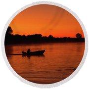 Morning Fishing On The Lake Round Beach Towel