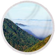 Morning Fog At Sunrise In Autumn Round Beach Towel