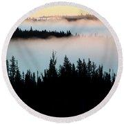Morning Fog In Northern Saskatchewan Round Beach Towel