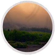 Morning Fog In Olympic National Park Round Beach Towel