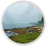 Morning Fog - Maine Round Beach Towel