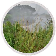 Morning Fog On Glacial Park Pond Round Beach Towel