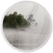 Morning Fog On Lake Superior Round Beach Towel
