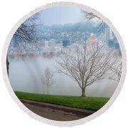 Morning Fog Over City Of Portland Skyline Round Beach Towel