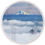 Morning Fog Over Portland Round Beach Towel