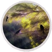 Morning Forest Light Round Beach Towel