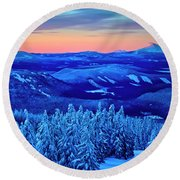Morning From Timberline Lodge Round Beach Towel