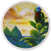 Morning Glory - St. Lucia Parrots Round Beach Towel