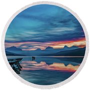 Morning Glory At Glacier National Park Round Beach Towel by Lon Dittrick