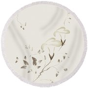 Morning Glory Flowers Sumi-e Illustration Artistic Design On Lig Round Beach Towel