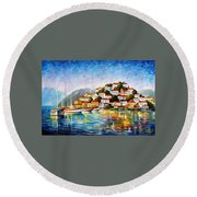 Morning Harbor - Palette Knife Oil Painting On Canvas By Leonid Afremov Round Beach Towel