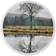 Morning Haze And Reflections Round Beach Towel