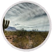 Morning In The Desert Round Beach Towel