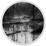 Morning In The Swamp Round Beach Towel