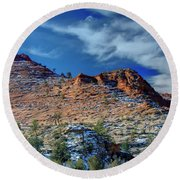 Morning In Zion Round Beach Towel