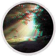 Morning Light - Use Red-cyan 3d Glasses Round Beach Towel