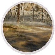 Morning Light On  Mammoth Terrace Round Beach Towel