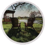 Morning Light At The Vineyard Florence Texas Round Beach Towel