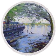 Morning Light By The River Round Beach Towel