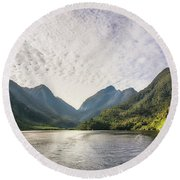 Morning Light Hitting The Docks At Doubtful Sound In New Zealand Round Beach Towel