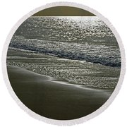 Morning Light On Sandown Beach Round Beach Towel