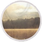 Morning Light Over The Mountains Round Beach Towel by Stephanie McDowell
