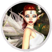 Morning Lily Fairy Round Beach Towel