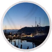Morning Lines Round Beach Towel
