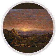 Morning Looking East Over The Hudson Valley From The Catskill Mountains Round Beach Towel