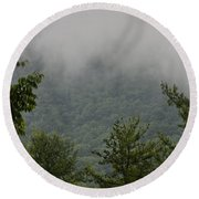 Morning Mist Bluestone State Park West Virginia Round Beach Towel
