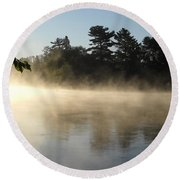 Morning Mist Glowing In Sunlight Round Beach Towel