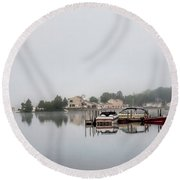 Morning Mist On The Lake Round Beach Towel
