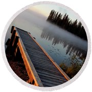 Morning Mist Over Lynx Lake In Northern Saskatchewan Round Beach Towel