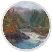 Morning Muse - Original Contemporary Impressionist River Painting Round Beach Towel