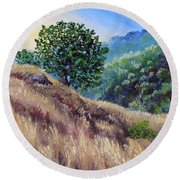 Morning On A Hilltop Round Beach Towel
