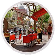 Morning On A Street In Tel Aviv Round Beach Towel by Zalman Latzkovich