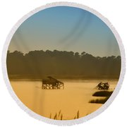 Morning On The Bay Round Beach Towel