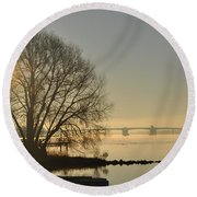 Morning On The Bay Bridge Round Beach Towel