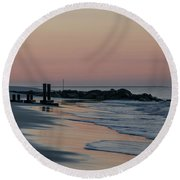 Morning On The Beach At Cape May Round Beach Towel