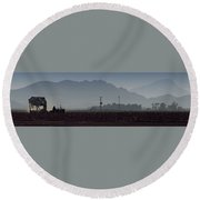 Morning On The Farm Round Beach Towel