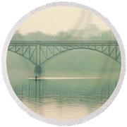 Morning On The Schuylkill River - Strawberry Mansion Bridge Round Beach Towel