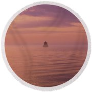 Morning On The Sound Round Beach Towel