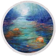 Morning On The Stream #3 Round Beach Towel