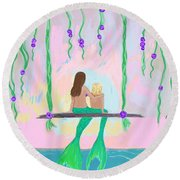 Morning On The Swing Round Beach Towel