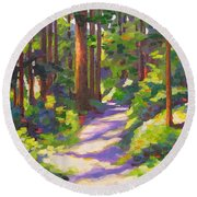 Morning On The Trail 3 Round Beach Towel