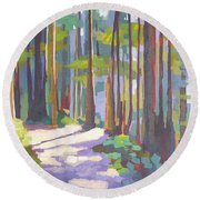 Morning On The Trail Round Beach Towel