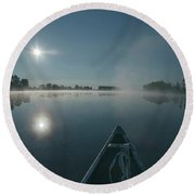 Morning Paddle On The Mississippi Round Beach Towel
